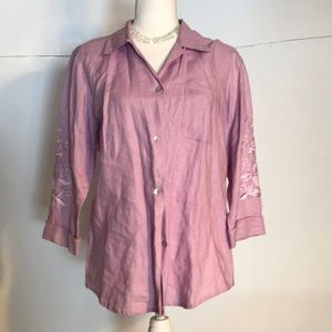 Edward Irish linen lavender button down